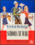 "Movie Posters:War, World War II Propaganda (U.S. Government Printing Office, 1942).Schools at War Programs Poster (22"" X 28"") ""We Are Ready. W..."