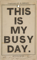 """Military & Patriotic:Indian Wars, Fort Abraham Lincoln: """"This is My Busy Day"""" Calendar Ad fromCuster's Door...."""