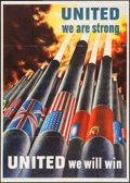 "Movie Posters:War, World War II Propaganda (U.S. Government Printing Office, 1943).OWI Poster No. 64 (28.5"" X 40""). ""United We Are Strong,"" He..."