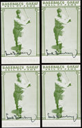 Autographs:Post Cards, 1977 Hank Greenberg Signed Hall of Fame Exhibit Collection (4)....