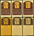 Autographs:Post Cards, Fred Lindstrom Signed Hall of Fame Plaque Postcard Collection (6)....