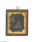 Antiques:Black Americana, A Portrait by Chapin of a Lovely Black Child Sitting in a Chair Aninth plate, half-cased tintype with a small ring attached...