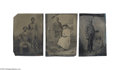Antiques:Black Americana, Three Fine Sixth Plate Tintype Studies of Well-dressed BlackCouples in Formal Poses at Photography Studios In two, young Af...