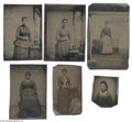 Antiques:Black Americana, A Compelling Group of Six Tintypes Featuring Portraits of AfricanAmerican Women Five are sixth plates. One a sixteenth pl...