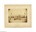 """Antiques:Black Americana, Blacks Posed in Pair of Photographs Two items: a 9.5"""" x 7"""" photograph on a 12"""" x 10"""" mount presenting a group of whites (fo..."""