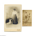 Antiques:Black Americana, Two Fascinating Photos: A Cabinet Card Depicting a Grown WomanHolding Hands with Princess Wee Wee, a Black Woman Featured in...