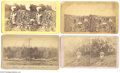 Antiques:Black Americana, Four Wonderful Stereoviews, Two Featuring Black Laborers Picking Cotton One features a large smiling woman balancing a baske...