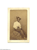 Antiques:Black Americana, A Fascinating Carte de Visite Study of a Young Black Man by BradyThe great photographer Mathew Brady's imprint is found the...
