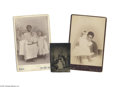 Antiques:Black Americana, Three Wonderful Photos of White Children with Their Black NanniesThe first, a cabinet card, features a smiling nanny with a...