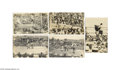 Antiques:Black Americana, An Exciting Set of Five Real-photo Postcards Picturing the 1915Title Fight Between Black Heavyweight Boxing Champion Jack Joh...
