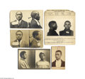 Antiques:Black Americana, A Fascinating Group of Six Black Convict Photos Four of thephotographs show front and profile; one photo has the criminal's...