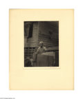 Photography:Signed, Signed Platinum Print Photograph by Doris Ulmann Here is another of Ulmann's rare contact prints of a photograph taken on he...