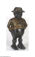 Antiques:Black Americana, Black Americana Cast Iron Cotton Picker Still Bank Great patina and look to this cast iron bank of a black character dressed...