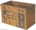 "Advertising:Tobacciana, 1930 Black Maria Chewing Tobacco Wooden Box With interestinggraphics of a native black woman on two sides and the text ""A G..."