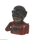 "Antiques:Black Americana, Jolly Nigger Mechanical Bank Has the original bottom which reads,""Made by Shephard Hardware Co. Buffalo, N.Y.,"" with a pate..."