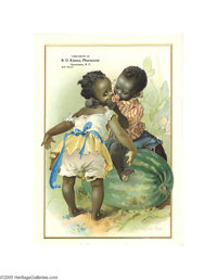 "Black Americana ""Honey Lips"" Children in Watermelon Ad Little black boy trying to steal a kiss from a little b..."