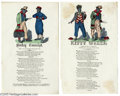 Political:Civil War, Pair of Civil War Songsheets A pair of wonderful, hand-colored songsheets: Darkey Conscript by Charles Magnus and Kitt...