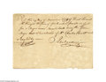 Antiques:Black Americana, 1778 Revolutionary War Slave Document A rare document being ahandwritten receipt dated November 29, 1778 (Philadelphia) tha...