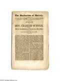 """Antiques:Black Americana, """"The Barbarism of Slavery,"""" Massachusetts Senator Charles Sumner'sSpeech on the Admission of Kansas as a Free State June 4..."""