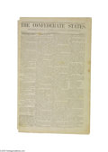 Military & Patriotic:Civil War, Confederate Wallpaper Newspaper A fabulous, two-page broadsheet newspaper printed on wallpaper from New Iberia, Louisiana. ...