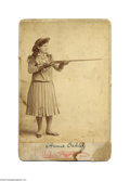 Photography:Cabinet Photos, Annie Oakley Original Cabinet Card by Brisbois A famous pose ofthis popular entertainer and sharpshooter shows her full len...