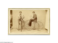 Photography:CDVs, Carte de Visite of Two Men on Velocipedes In 1865 a new type of two-wheeled vehicle appeared called the velocipede (Latin fo...