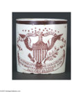 """Political:3D & Other Display (pre-1896), Rare War of 1812 Miniature Liverpool Mug Bold patriotic eagle above streamer reading, """"May success attend our agriculture tr..."""