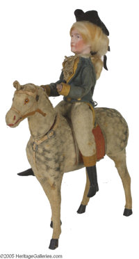 """George Washington on Horseback Candy Container This piece stands a full 11"""" tall. The porcelain-faced Washington, c..."""