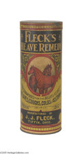 Advertising:Tins, A Fine Fleck's Veterinary Heave Remedy Container This beautifulpaper label veterinary cure, manufactured by J. J. Fleck of ...