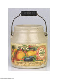Advertising:Display Jars, Small Heinz Preserved Strawberries Crock Comes with handle,pictures a colorful grouping of fruit and the Heinz logo. The a...