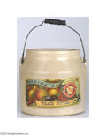 Advertising:Display Jars, Large Heinz Peach Butter Handled Crock With Lid Circa 1890 What animpressive display centerpiece this would make for your c...