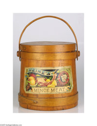 """Beautifully Illustrated H. J. Heinz Mince Meat Wooden Bucket With paper label, approximately 10"""" tall and in immacu..."""