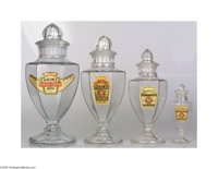 Graduated Set of 4 Heinz Six-sided Display Jars Complete with original ground lids and in near mint condition. Each jar...