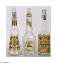 1880s Heinz Sauces, Three Different Bottles With Stoppers These bottles are rarely seen in such fine condition. All thre...
