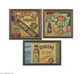 Advertising:Paper Items, Three Framed Heinz Crate Labels for Catsup, Celery and Tobasco Pepper Sauces It was 1869 and Henry John Heinz was 25 years o...