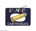 "Advertising:Signs, Early UMC Diecut Cartridge Sign Circa 1910 The sign is a two-sidedfan spinner that pictures Remington's ""U.M.C. Cartridges,..."
