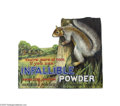 """Advertising:Signs, Rare Diecut Hercules Powder Counter Sign Stands 10 1/2"""" x 9"""", advertising that company's """"Infallible Powder."""" Pictured in g..."""