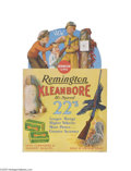 Advertising:Signs, Remington's Kleanbore Die-cut, Easel-back Store Sign Pictures threeyoung boys at target practice. This full color cardboar...