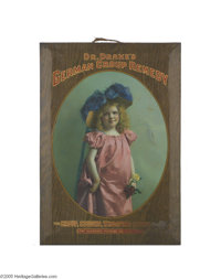 """""""Dr. Drake's German Croup Remedy"""" Sign A tin lithograph, advertising turn of the century remedies made by the..."""