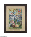Advertising:Signs, Deep Springs Whiskey Sign Pictures a graphic scene of Confederate soldiers cheering their commander, Robert E. Lee, riding h...