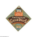 Advertising:Signs, 1880s Triangular Chocolate Drops Sign This sign pictures thestandard product box for this candy maker. Holed as made at th...