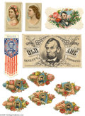 "Advertising:Paper Items, Trade Cards and Other Advertising Ephemera A colorful group ofVictoriana that includes a large ""Old Abe Fine Cut Smoking"" t..."