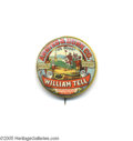 Advertising:Small Novelties, Bold Bright Colors William Tell Flour Advertising Pin Pin shows ascene of William Tell ready to shoot the apple from the bo...