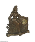 """Antiques:Decorative Americana, Large Pre-1900 Patriotic Clock Featuring a seated Miss Liberty withword """"Commerce"""" on base. Symbols of American productivi..."""