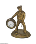 "Antiques:Decorative Americana, Desirable Sailor ""Occupational"" Clock Possibly of German manufacture. Wonderful detail with what appears to be original gol..."