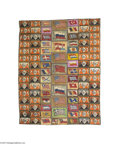 Political:3D & Other Display (1896-present), Large Handmade Blanket Sewn from Circa 1910 Felt Cigarette PremiumsSewing these felts together to make pillowcases, coverle...