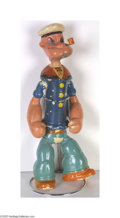 "Entertainment Collectibles:Comic Character, Large 14"" Popeye Doll, Wood and Composition, Copyright 1935 E. C. Segar began a comic strip in 1919 titled The Thimble The..."