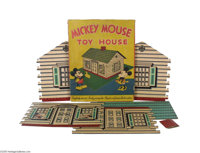 Rare Mickey Mouse Litho House Dates from the early 1930s and shows a pie-eyed Mickey Mouse and Minnie Mouse enjoying the...