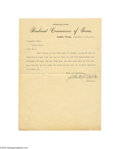 Transportation:Railroad, 1891 Texas Railroad Commission Typed Letter Signed by John H.Reagan One page typed letter, Austin, Texas, dated September 2...