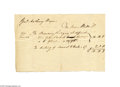 Miscellaneous:Ephemera, 1791 General Anthony Wayne's Lodging Bill A handwritten bill forfifty-four days of room and board from Jane Watts to Genera...